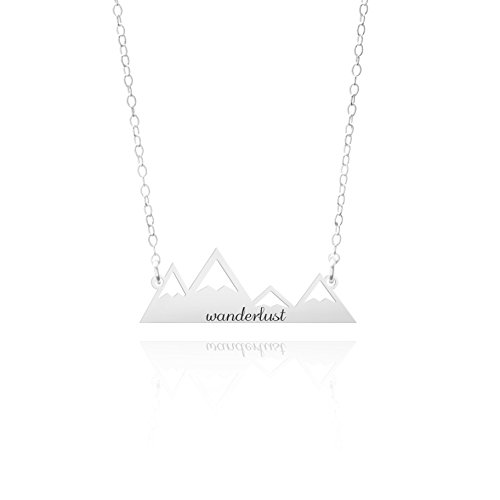 Wanderlust Mountain Necklace - A Four Peak Mountain Range Pendant Necklace. Mountain Jewelry