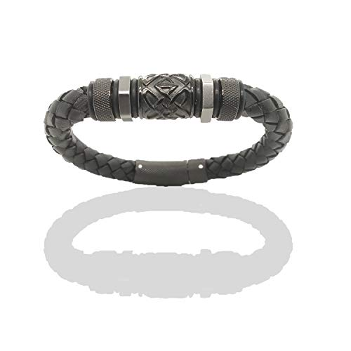 - Tribal Hollywood Dark Matter Men's Braided Bracelet Black Leather | Stainless Steel Barrel Bead with Geometric Detailing | Push Button Clasp | 8 ¼