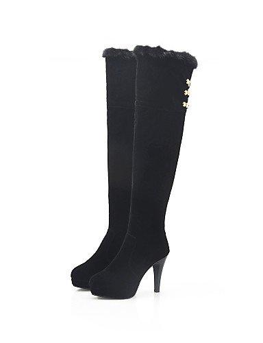 Tacón Xzz cuero Zapatos Trabajo Casual Botas De Y Cn39 Vestido Black us8 Punta Uk6 Redonda Oficina Eu39 Stiletto Mujer Exterior Cerrada xxtrwZ