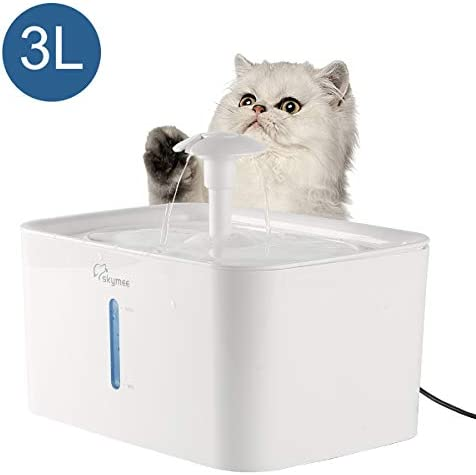 SKYMEE 3L Cat Water Fountain, LED Automatic Pet Flower Fountain Ultra Quiet Dog Dispenser Water Bowl