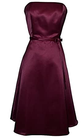 50s Strapless Satin Bridesmaid Bridesmaid Dress Homecoming, Medium, Burgundy