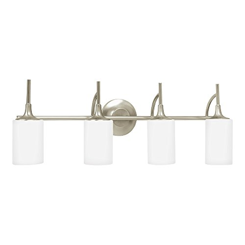 Sea Gull Lighting 44955-962 Stirling Four-Light Bath or Wall Light Fixture with Cased Opal Etched Glass Shades, Brushed Nickel - White Shades Walter