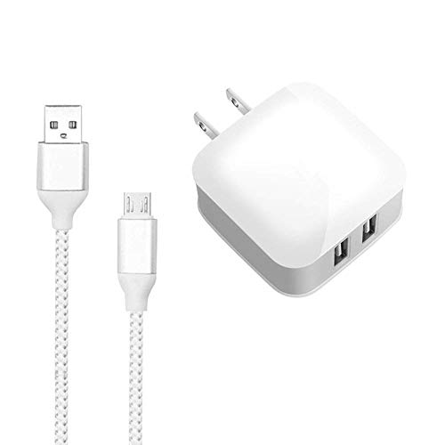 Kindle Fire Charger,Dual Port USB Charger,Travel Wall Power Adapter 5V 2.4A with Micro-USB Cable Compatible Kindle Fire Tablet Hd,Kindle eReaders,Bluetooth Speaker,Samsung,HTC and More Android Devices