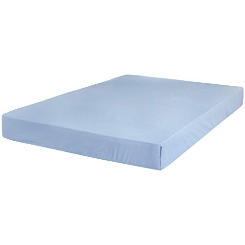 AmazonBasics Ultra-Soft Cotton Fitted Sheet - Queen, Dusty Blue