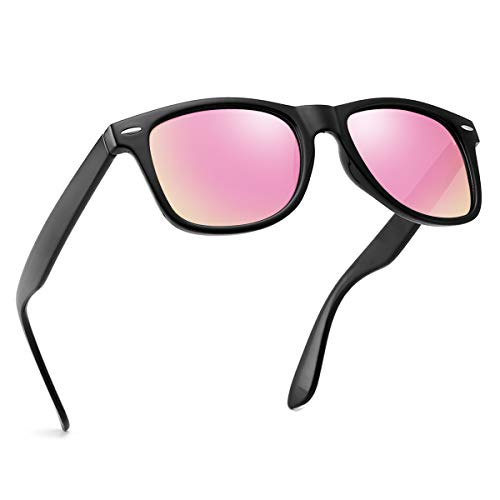Polarized Sunglasses For Men Women Retro TR90 Frame Square Shades Vintage BRAND DESIGNER Classic Sun Glasses (Polarized pink ()