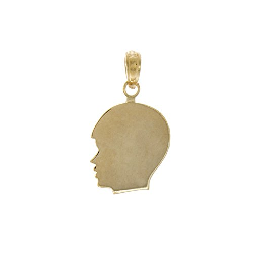 Boy Head Silhouette Charm - 14k Yellow Gold Disc Charm Pendant, Small Boy Head Silhouette, High Polish