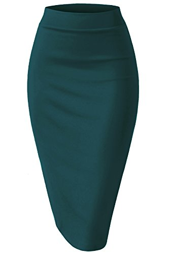 (NBU Women Elastic Waist Band Stretchy Fabric Pencil Skirt (2XL, Banded_Teal))