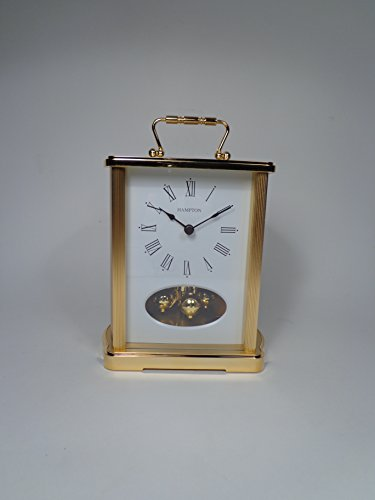 Hampton Haddon Brass Mantel Clock Brass Carriage Clock Anniversary Clock ()