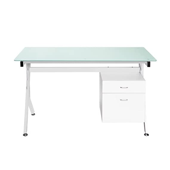 "ModernLuxe Computer Desk Home Office Table with Glass Top and Storage Drawers White (White) - [Dimensions] Computer desk size: 51.5""L X 23.6""D X 29.5""H, surface area provides ample desktop space for working [Sturdy Material] Made of strong MDF and tempered glass that provides solid support while also easy to spot clean and maintain for long lasting durability [Organization] Convenient side storage drawer connected with to desk is crafted with a modern design and equipped with smooth-glide metal runners - writing-desks, living-room-furniture, living-room - 31LYR4LSE2L. SS570  -"
