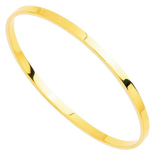 Orleo - REF7480BB : Bracelet rigide Femme Or 18K jaune - Fil Rectangulaire Massif 65 mm x 5 mm