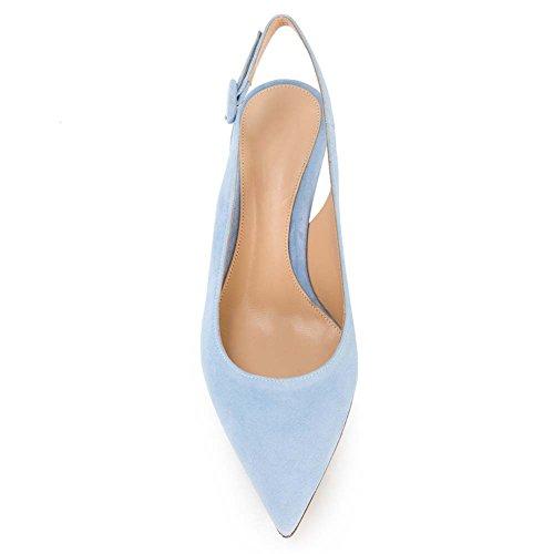 Heels Slingback Pumps Party Ankle 5CM Blue Pumps Kitten Pointed Shoes 6 Toe Wedding Sandals Kmeioo Suede Strap Heel Low Evening Light 5XPfwqx