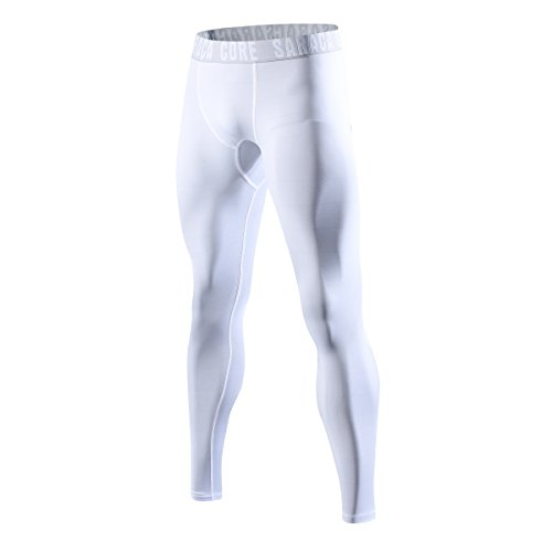saraca core Men Youth Compression Pants Athletic Tights Running Leggings Baselayer Cool Dry White