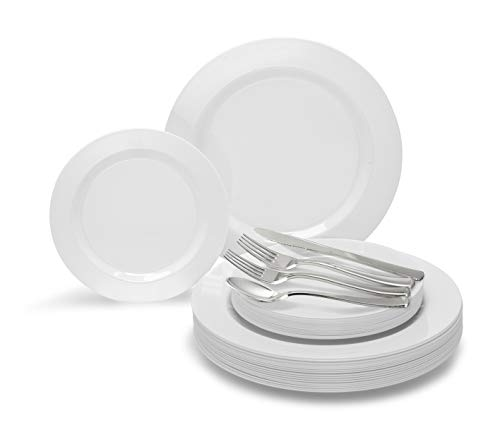 OCCASIONS 360 PCS / 60 GUEST Wedding Disposable Plastic Plate and Silverware Combo Set 10.5 + 7.5 + Silverware (Plain White plates, Silver silverware)