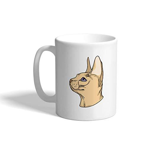 (Custom Funny Coffee Mug Coffee Cup Sphinx Cat Head White Ceramic Tea Cup 11 OZ Design Only)