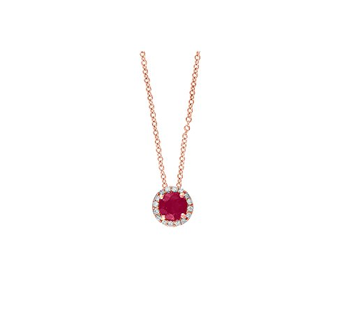 Effy Ruby Royale Collection 0.07 ct. tw. Diamond and Ruby Pendant in 14k Rose Gold ()