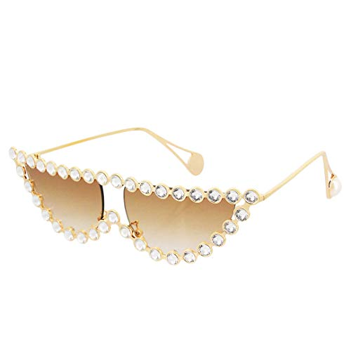 Naimo Sparkling Crystal Cat Eye Sunglasses UV Protection Metal Rhinestone Frame