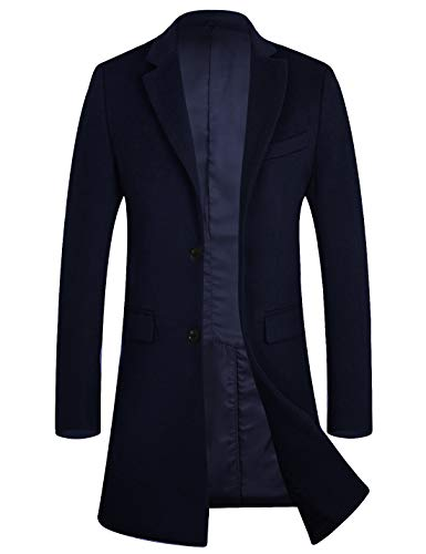 APTRO Men's Winter Quality Wool Trench Coat Above Knee Top Coat 1702 Navy L