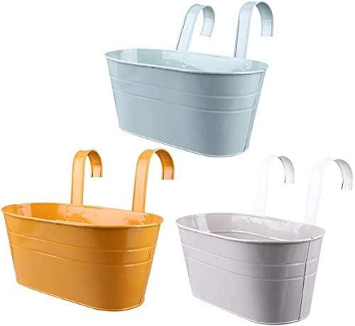 実用植木鉢 メタルハンギングフラワーポットプラントポットバケツ花瓶バルコニープランター窓辺プランター取り外し可能なダブルフック付きボックスコンテナ(オレンジ) (Color : As Shown)