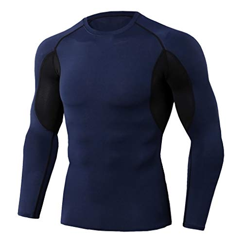 iHPH7 T-Shirt Men Long Sleeve T-Shirt Baselayer Cool Dry Compression Top Workout Fitness Sports Running Yoga Athletic Shirt Top Blouse XXXL 1- Navy]()