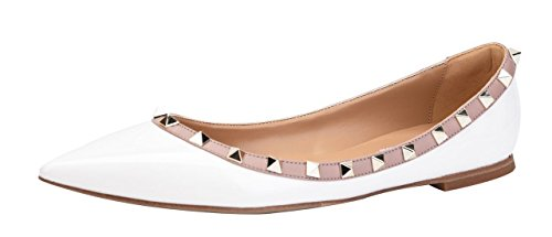 (CAMSSOO Women's Classic Rivets Pointy Toe Slip On Comfort Flats Dress Pumps Shoes White Patant PU Size US 10.5 EU45)