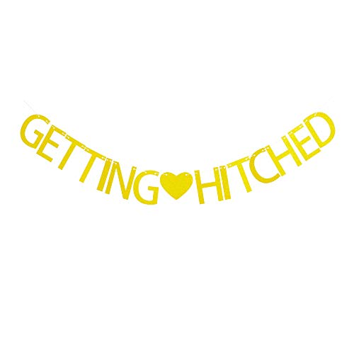 Getting Hitched - Getting Hitched Banner, Bridal Shower Party Decorations,Gold Glitter Bachelorette Party Supplies