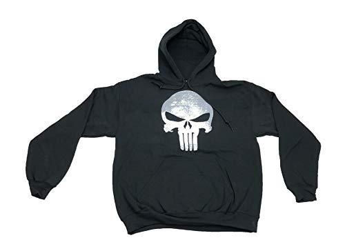 Marvel Men's Punisher War Zone Frank Castle Skull Logo Hooded Sweatshirt Medium Black