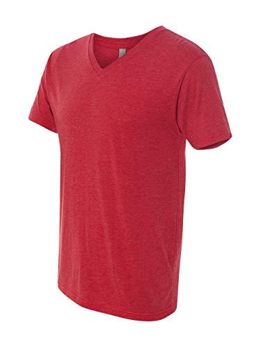 Next Level Men's Tri-Blend Ribbed Knit V-Neck T-Shirt, Vintage Red, X-Large