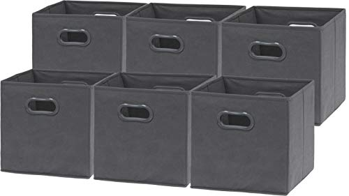 (6 Pack - SimpleHouseware Foldable Cube Storage Bin with Handle, Dark Grey (12-Inch Cube))