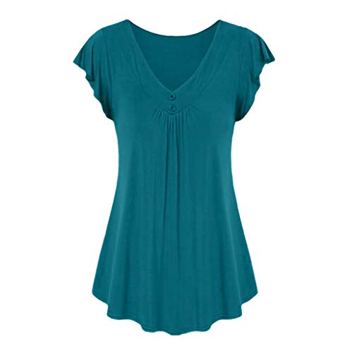 Keliay Womens Tops for Summer,Women's Fashion Casual Summer Sexy Solid Color V-Neck Short Sleeve Shirt Cotton Mint -