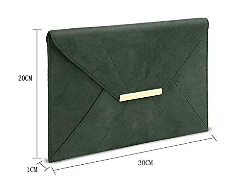 Clutch Strap Hook Suede Green2 GESSY Envelope Purse Women Faux Magnet Chain Dark Pocket with qn4AwRIxY
