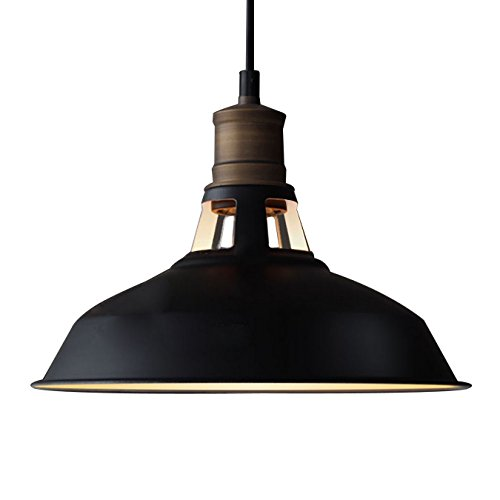 YOBO Lighting Antique Industrial Barn Hanging Pendant Light with Metal Dome Shade, Matte Black by YOBO Lighting