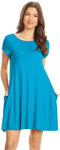 Simlu Women's Side Pocket Knit Jersey Swing Dress - Made in USA Turquoise Medium