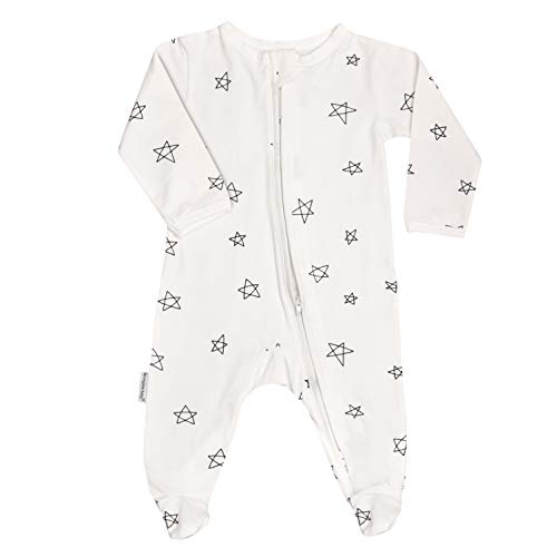 (100% GOTS Organic Cotton Baby Boy Girl Sleep 'N Play Footed Long Sleeve Onsie, Unisex, Pajama Sleeper (6-12M, Drawn Star))