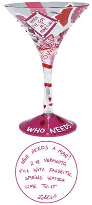 LOLITA PAINTED MARTINI COCKTAIL GLASS - WHO NEEDS A MAN by Santa Barbara Ceramic Design