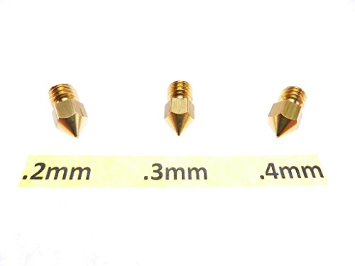 .2mm .3mm .4mm 3D Printer Nozzle for MK7 MK8 makerbot RepRap 1.75mm ABS PLA by Daewon Industries (Image #1)