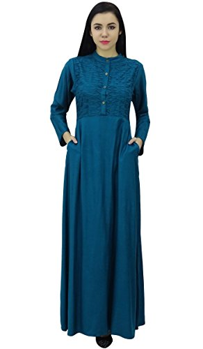 Bimba Teal Clothing Blue Dress Hizab Sleeve Full Muslim With Women's Abaya Maxi 16rvq17