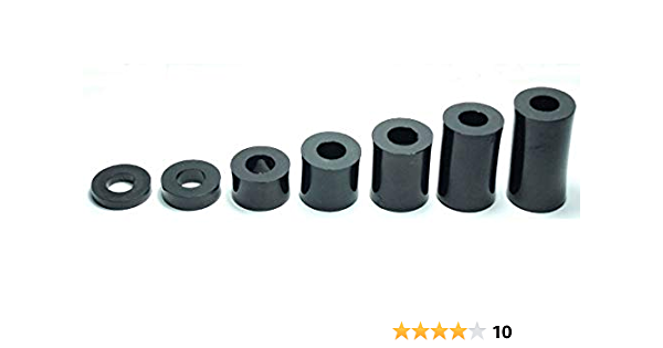 Thickness L=4mm 10X Plastic SPACERS M8 Thickness 4MM to 30MM ID 8MM OD 15MM WASHERS Screw Tube Black Universal