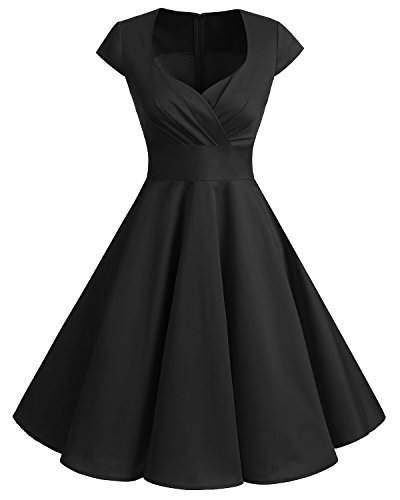 Bbonlinedress Women Short 1950s Retro Vintage Cocktail Party Swing Dresses Black M