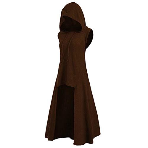 Toimothcn Women Halloween Cosplay Costume Vintage Sleeveless Asymmetrical Hooded Vest Coat Dress(Khaki,M)
