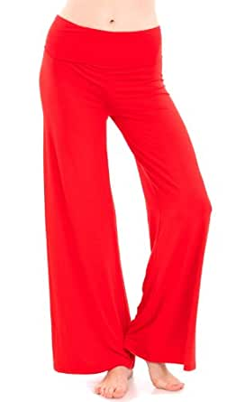 Red Ladies Wide Leg Yoga Pants Fold Over Stretch Waist Band, USA Made