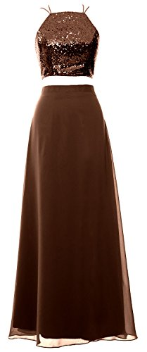 MACloth Women 2 Piece Long Bridesmaid Dress Sequin Prom Homecoming Formal Gown Marrón