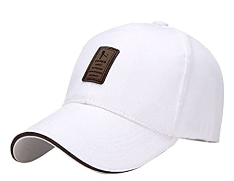 Eric Yian Plain 100% Cotton Hat Men Women Adjustable Baseball Cap Vintage Washed Contrast Stitch Cap white