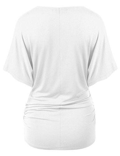 Donna a Pipistrello Bianca Blusa Tinta Fashion Scollo Camicetta Tops Blouse Fashion Basic Estivi Unita Sexy Camicie Manica Simple V Ewq6gO4p4