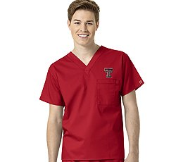 Texas Collegiate Scrub (WonderWork Collegiate Unisex V-Neck Red Solid Scrub Top X-Small Texas Tech University)