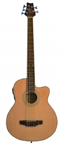 5 String Cutaway Acoustic Electric Bass with 4 EQ - Natural & DirectlyCheap(TM) Translucent Blue Medium Guitar Pick