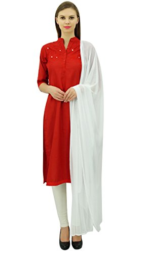 Atassi Lin Broderie Concepteur Salwar Kameez Costume Indien Robe Rouge Mis Et Blanc