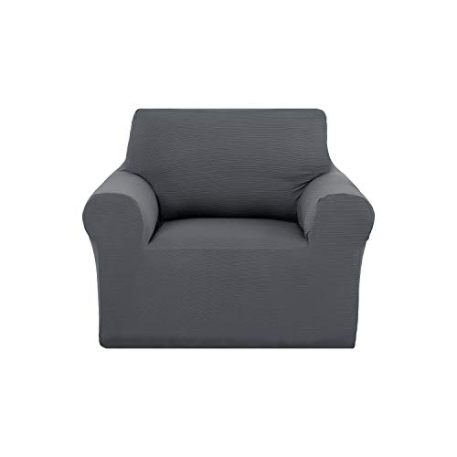 uard Strapless Sofa Furniture Protector Solid Color Non-Slip Stretch Arm Chair Couch Cover Grey ()