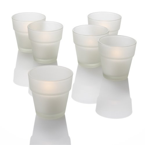 Set of 12 White Richland Votive Candles and 12 Frosted Flower Pot Votive Holders (Flower Pot Votive Candle)