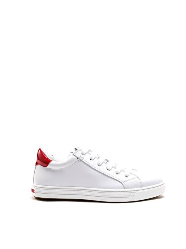 (DSQUARED2 WOMEN'S K204984M244 WHITE/RED LEATHER SNEAKERS)