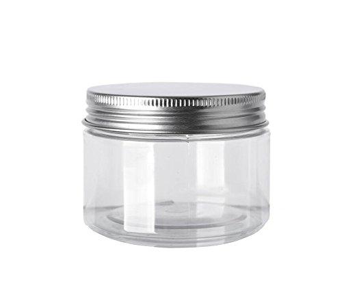 250ml Net (6PCS 120ML/4Oz Clear Empty Refillable PET Plastic Wide Mouth Cosmetic Bottles With Aluminum Cap-Cream Lotion Holder Case Makeup Storage Contanier Facial Mask Pot Jar)